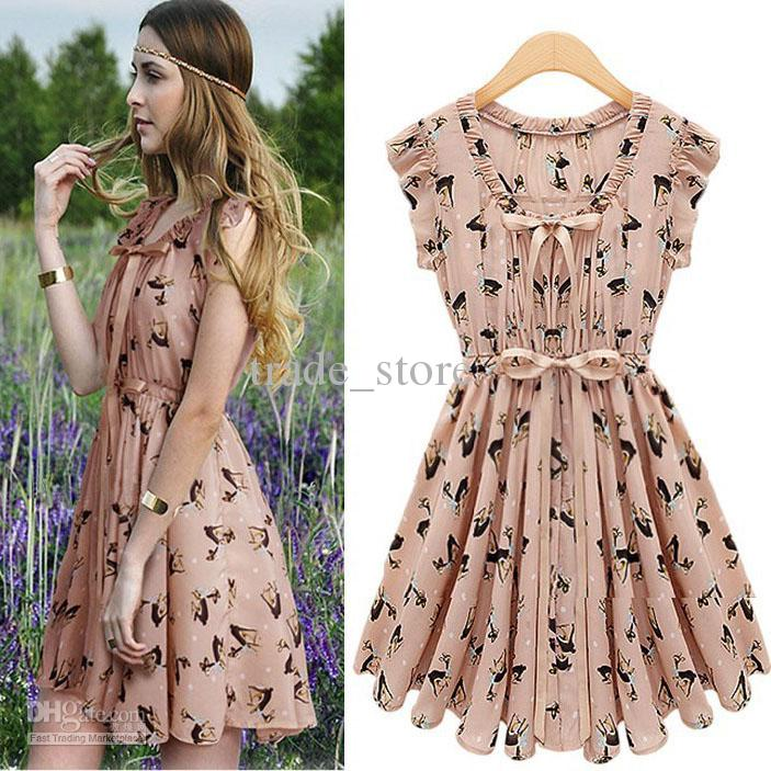 2017 Fashion Women Dresses Bohemian Summer Sleeveless Party Chiffon Skater Dress Deer Bowknot Mini Skirts Casual
