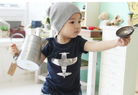 Wholesale Dk Children - Free Shipping EMS DHL Summer Children Short Sleeve T Shirt Pure Cotton Baby Boys Plane Tshirt Kids Topwear Green Dk Blue 20pcs lot XF431