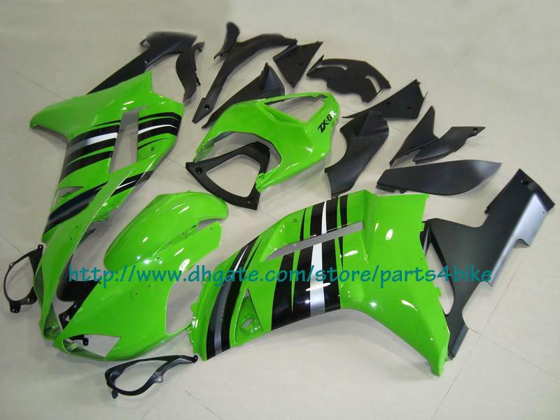 Juego de carenado de moto de carreras en plata verde para 2007 2008 Kawasaki Ninja ZX6R zx-6r ZX 6R 07 08 RX8m