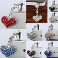 "Wholesale Dust Plug Mix - For Iphone Cellphone! "" Heart Shaped "" Mix Color Rhinestone Crystal Charms Pendant Anti Dust 3.5mm Ear Cap Jack Plug Stopper"