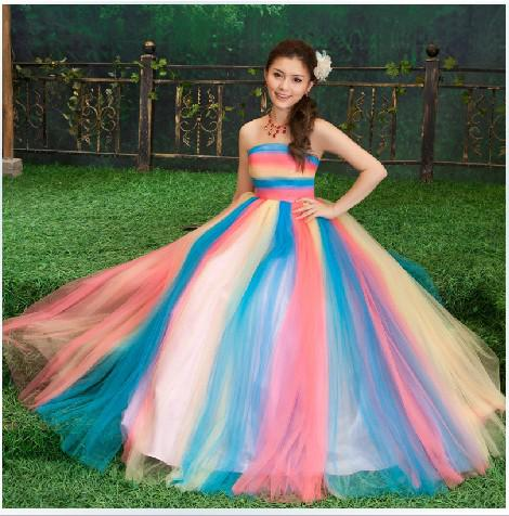 Stunning A Line Strapless Colorful Long Wedding Dresses