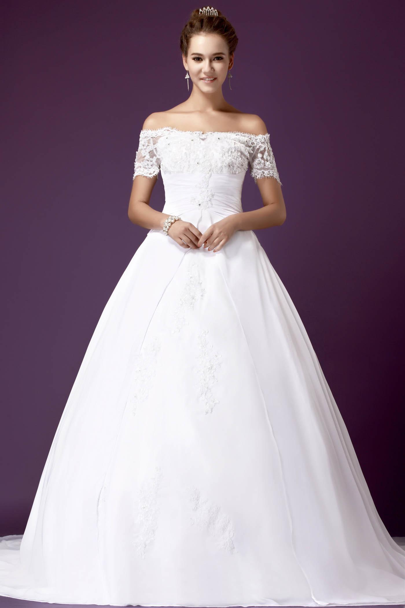 2013 Summer Off Shoulder Beaded Lace White Chapel Train Ball Gown Wedding Dresses Bridal Gowns Wd293 Online Womens From Promtime