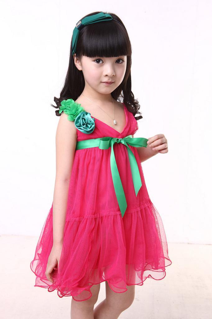 Girls Dresses Large Flowers Veil Dance Dress Lovely Cake Baby Clothings