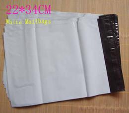 Wholesale Mailbags Envelopes - 22*34CM White Self-seal Mailbag Plastic Envelope Courier Postal Mailing Bags 9032