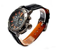 Wholesale V6 Watches Wholesale - 2PCS Luxury V6 Japan Quartz Wristwatch Black Stainless Steel Leather Bands Mens Watch Men's Watches