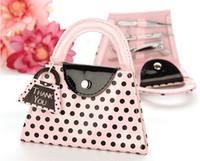 Wholesale Pink Polka Purse Manicure Set - Wedding Favor Gift Pink Polka Purse Manicure Set Pedicure