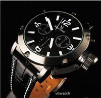 relojes de cuarzo movt al por mayor-Reloj de pulsera analógico de cuarzo de los hombres de la venta caliente de los EE. UU., Reloj deportivo de la correa de cuero, reloj de lujo de Japón Movt V6