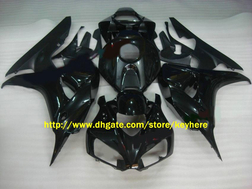 CBR1000RR 2006 2007 CBR 1000 RR 06 07에 대한 밝은 검정 페어링 키트 motocycle body work + windscreen