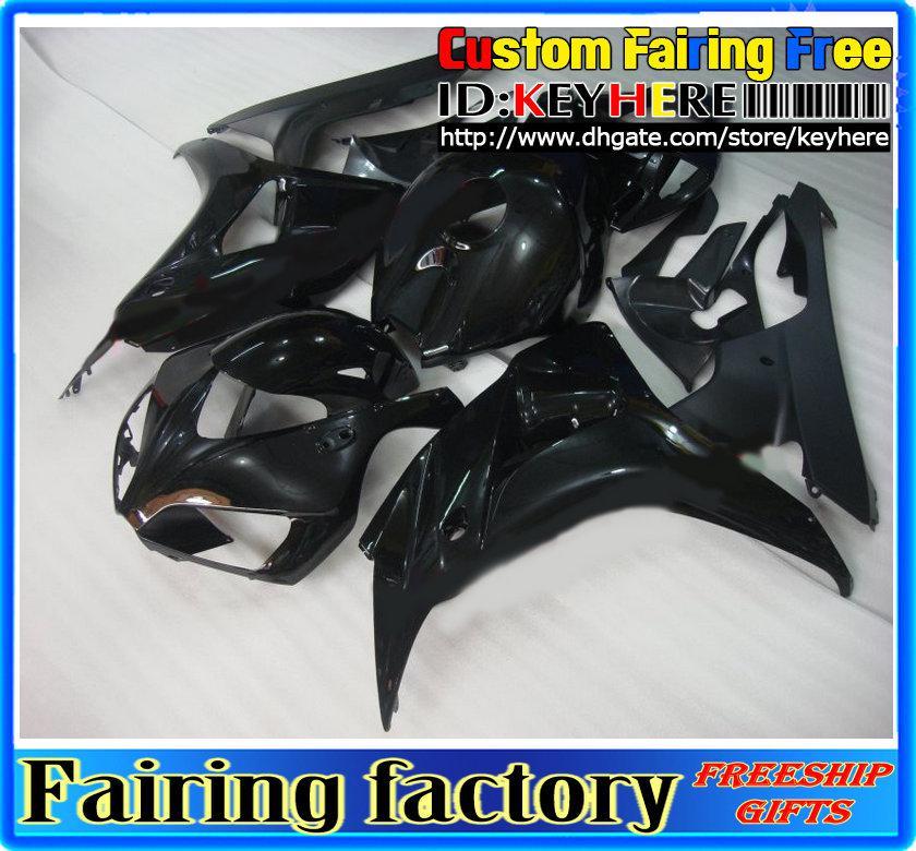 Bright Black Fooring Kit dla CBR1000RR 2006 2007 CBR 1000 RR 06 07 Motocyklowe Prace do ciała + przednia szyba
