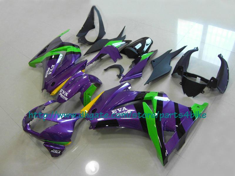 Juego de carenado racing verde violeta KAWASAKI Ninja 250R EX 250 2008 2009 2010 2011 EX250 08 09 10 11 RX1