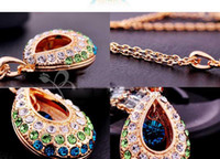 Wholesale Tear Crystal Water Drop Necklace - Austrian crystal necklace tear drop water droplets necklaces Simulated diamond Jewellry mix colors