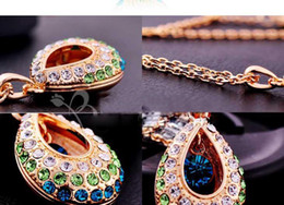 Wholesale Crystal Droplet Necklace - Austrian crystal necklace tear drop water droplets necklaces Simulated diamond Jewellry mix colors