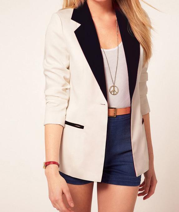 Stylish Ladies Womens Tunic Blazer Foldable Sleeve Jacket Casual ...