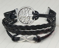 Wholesale Infinity Bracelet Wishing Tree - 20% OFF! Silver Wishing Tree & Infinity Charm Bracelet Multiple Strand, Black leather rope bracelet