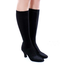 Wholesale Ballroom Shoes Women Brown - Free shipping,latin boots,dance boots,Latin dance boots,stretchy velour upper