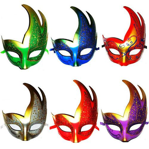 061 Handmade Halloween Costume Party Masquerade Leaves Mask Flame ...