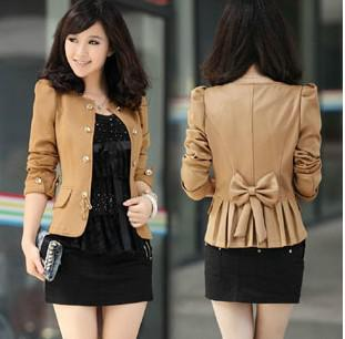 Online Cheap Women Bow Slim Outerwear Short Design Fashion Short ...