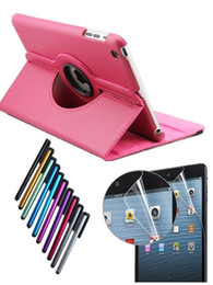 Wholesale Ipad Case Stylus Pen - 360 Rotating Leather Case Smart Cover For ipad 2 3 4 5 6 ipad mini air 2 + Screen Film Protector + Stylus Touch Pen
