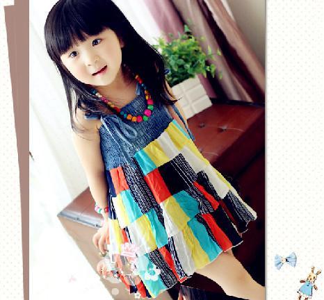 2013 Girls Colorful Dress Bohemian Sundresses (Giving Bracelet Necklace) Children's Clothing