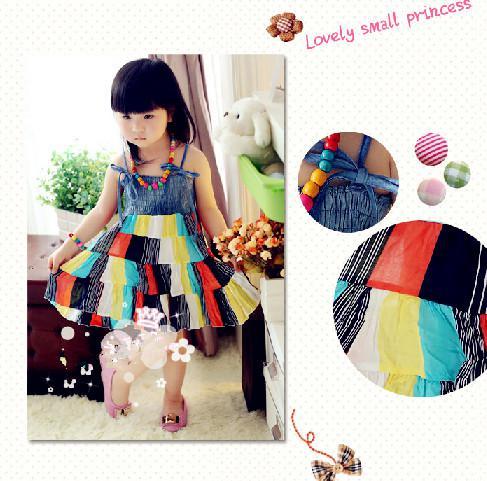 2013 Girls Colorful Dress Bohemian Sundresses Giving Bracelet Necklace Children's Clothing