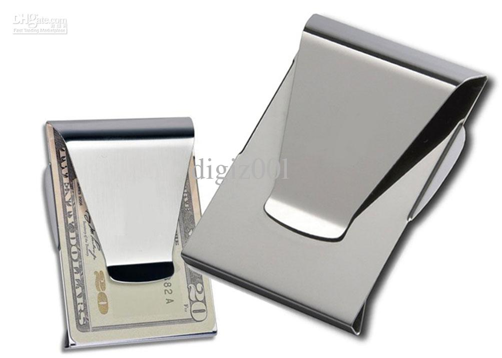 money clip double sided wallet card holder slim clips money clips 100pcs - Money Clip And Card Holder