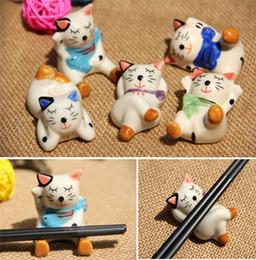Wholesale Rest Pillows - Lucky Cat Chopsticks Rest Chopsticks Pillow Writing Brush Stands Feather Pen Holder Penholder Tablew