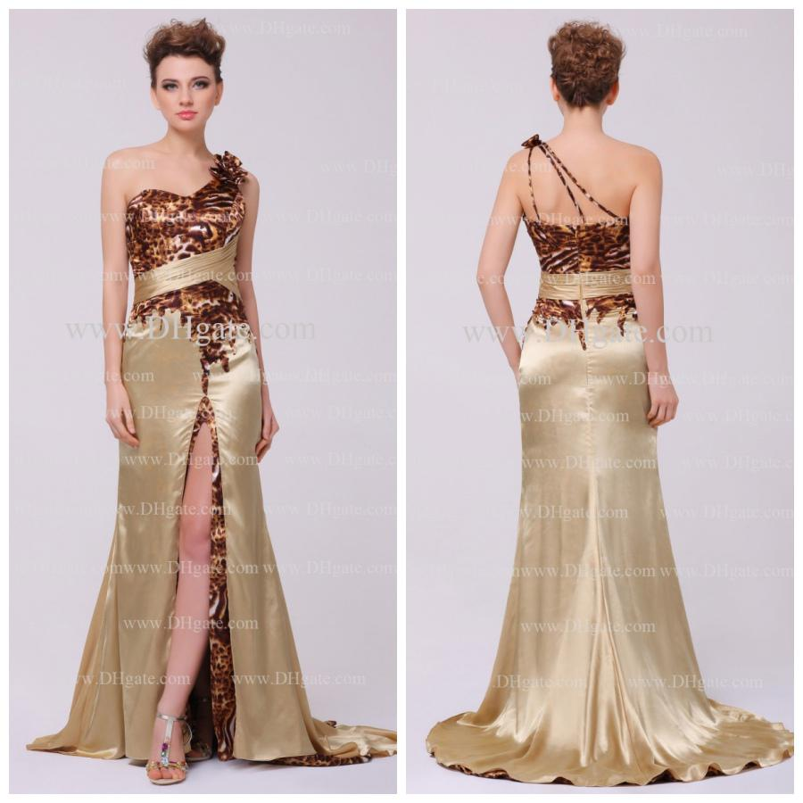 2013 Sexy One Shoulder Tiger Print Split Court Champagne Prom ...