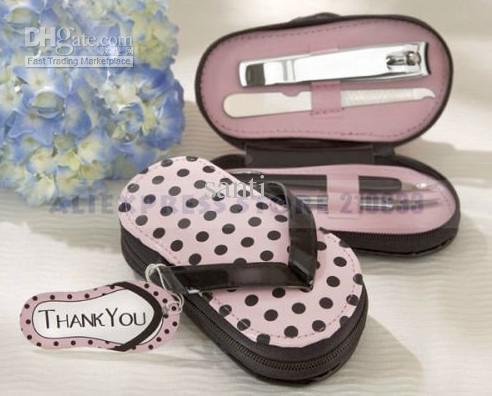 4 Piece Pedicure Kit With Pink Polka Dot Flip Flop Case Favor for Wedding Gifts Supplies