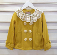 Wholesale Tweed Jacket Wholesalers - Girls Coats Double-Breasted Girls Lace Collar Jackets Tops Children's Clothing
