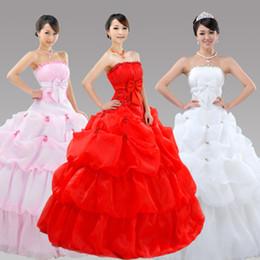 Wholesale Red Lotus - Lotus leaf flowers lace up back Bridal gown dress wedding long dress evening long dress 542