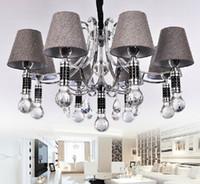 New Modern Minimalist K9 Crystal Fabric LED Chandelier Study...