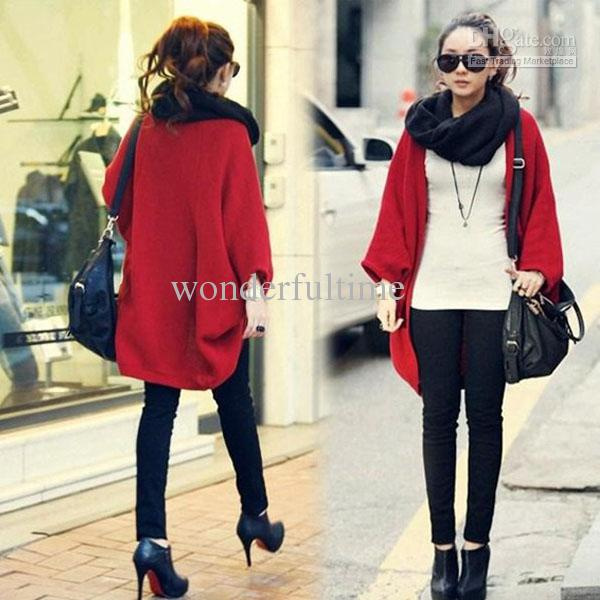 Discount Womens Batwing Loose Woolen Knitting Sweater Wrap Outwear ...