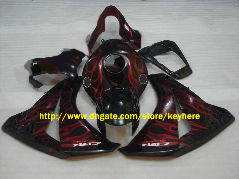맞춤형 차체 HONDA 용 CBR1000RR 2008 2009 2010 2011 CBR 1000RR 08 09 RED Flame Fairing 키트