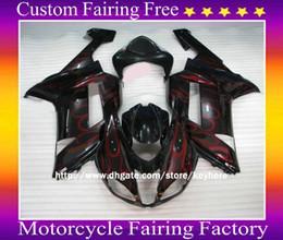 Wholesale Kawasaki 636 Plastics - High grade ABS plastic RED Flame fairing kit for 2007 2008 ZX 6R 636 Ninja ZX6R ZX636 07 08