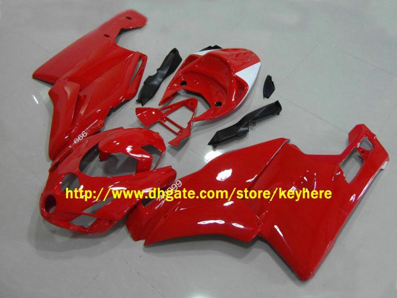 ドゥカティ03 04 04 2004年2004年の交換用ボディキットのためのフルセットオートバイ赤ABSフェアリングキット