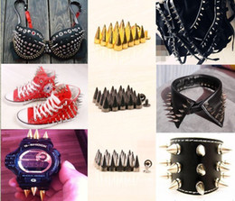 Wholesale Metal Bullet Spikes - 15%off!15mm Mental Bullet Spike Studs Rivet Punk Rock LeatherCraft DIY 150pcs Studs