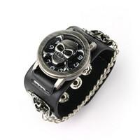 Wholesale Watch Punk Gothic - Punk Gothic Ladies Women Men Gens' Genuine Leather Wrist Watch 5pcs lot Free Shipping