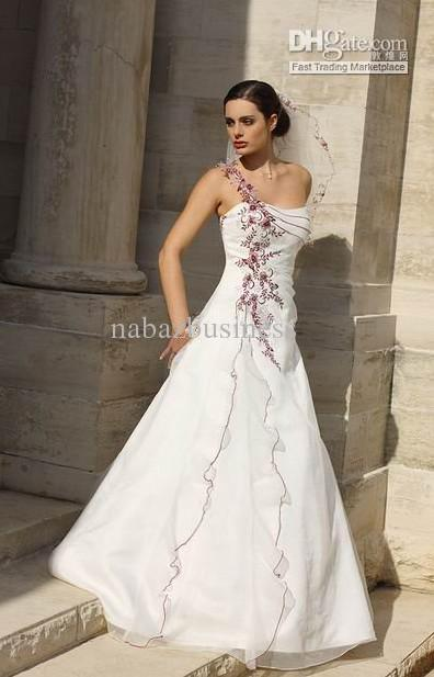 Embroidery flower wedding dress bridal gown bridal dresses for Flower embroidered wedding dress