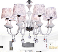 Modern Chinese Style Minimalist K9 Crystal Fabric Chandelier...