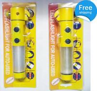 Wholesale Multi Use Hammer - 150pcs lot 4 in 1 Multi functional Auto Emergency Hammer LED Flashlight for Auto-used,safty hammer
