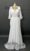 Wholesale Chiffon Dreses - 2013 Chiffon Wedding Dreses with 3 4 Long Sleeves V Neck Pleated Bodice Wedding Dress Beaded Belt Fashion Beach Wedding Gown DB105