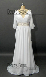 Robe En Mousseline De Soie Empire V Pas Cher-2013 Chiffon Wedding Dreses avec 3/4 manches longues V Neck Robe de mariée en mousseline plissée Beaded Belt Fashion Wedding Wedding Dress DB105