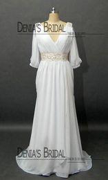 Wholesale Red White Wedding Dreses - 2013 Chiffon Wedding Dreses with 3 4 Long Sleeves V Neck Pleated Bodice Wedding Dress Beaded Belt Fashion Beach Wedding Gown DB105