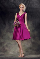 Wholesale Taffeta Empire Waist Bridesmaid Dresses - 2013 Custom Elegant Ruched A-Line V-Neck Empire Waist Knee-Length Nastye's Bridesmaid Dress