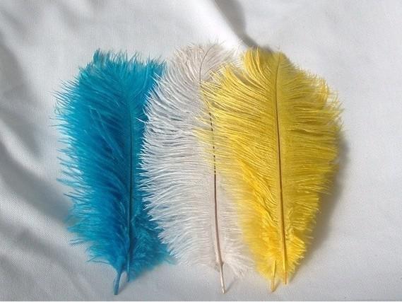 Venta al por mayor 100 unids por lote 10-12 pulgadas PLUMAS DE OSTRICH pluma Blanco, Amarillo y Turquesa azul real negro naranja marfil rosa fuerte rosa claro