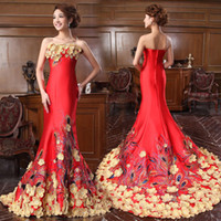 Wholesale Hot Long Tail Wedding Dresses - Hot New flower Silk prime satin tailing Bridal gown wedding long dress evening long dress 550