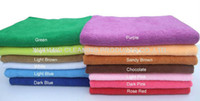 Wholesale Gym Microfibre Towels - Free shipping 50PC 25cmx50cm pure color Microfiber Hand Towel Microfibre Cleaning Cloth Drying Camping Travel Gym Sports Towel