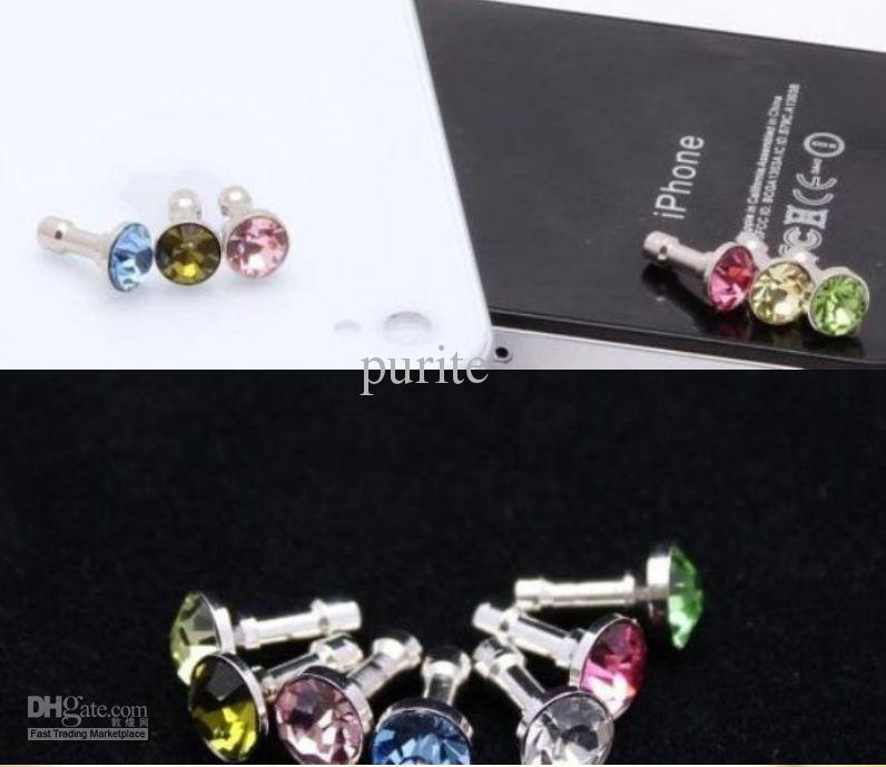 200pcs diamond Earphone Headphone anti Dust plug dust Cap for iphone 4 4s for 3.5mm plug phone