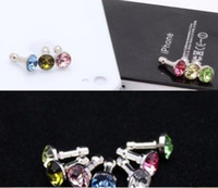 Wholesale Diamond Headphone Plug - 200pcs diamond Earphone Headphone anti Dust plug dust Cap for iphone 4 4s for 3.5mm plug phone