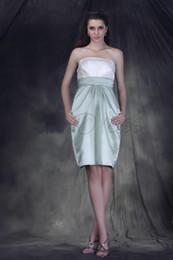 Wholesale Taffeta Empire Waist Bridesmaid Dresses - Custom Elegant Ruched Sheath Column Strapless Knee-Length Empire Waist Anerai's Bridesmaid Dress